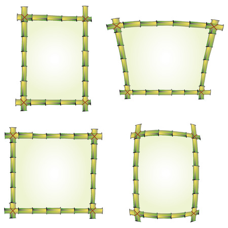 bamboo leaves: set of four bamboo frames for signs Illustration