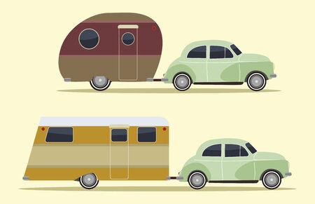 remolques: conjunto de dos coches de camping vintage, estilo retro