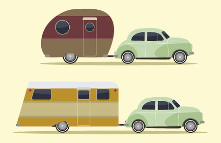 set of two vintage camping cars, retro style Illustration