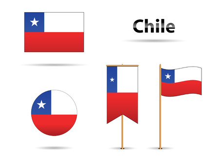 set of falgs from south america country Chile Vector