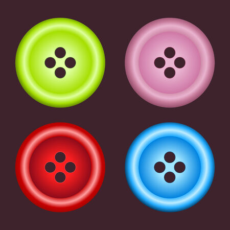 set of four sewing color buttons Vector