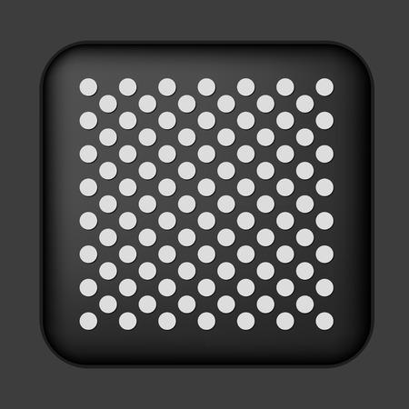 prata: black icon with silver metal grid
