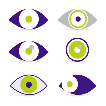 set of six eyes icons in green and purple Vector