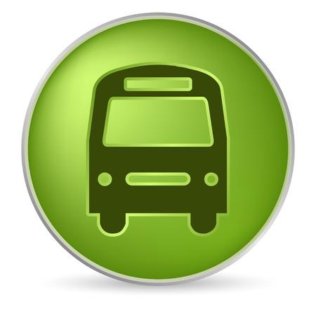 boton stop: icono de autob�s verde ronda en efecto 3D