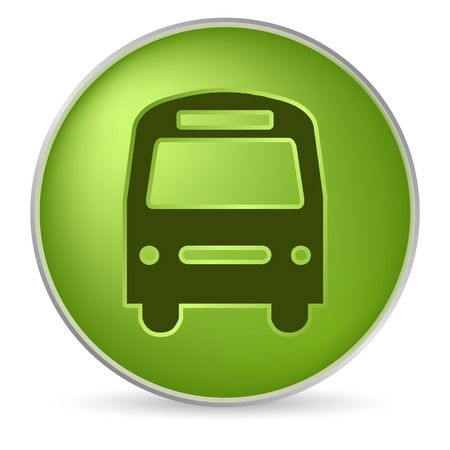 icon: round green bus icon in 3D effect Illustration