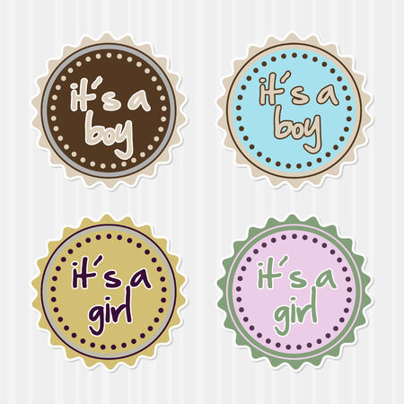 girl: set of girl boy badges or stickers Illustration