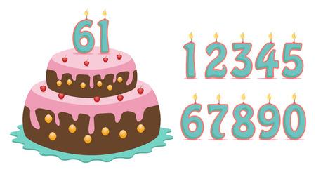 number candles: pastel con conjunto de n�mero que todos los a�os