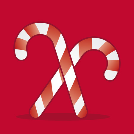 two xmas cane candies in red background