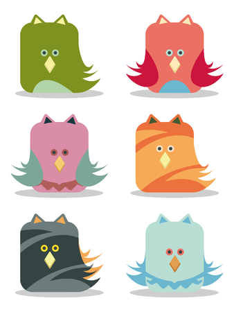 set of six funny birds Stock Vector - 8195186