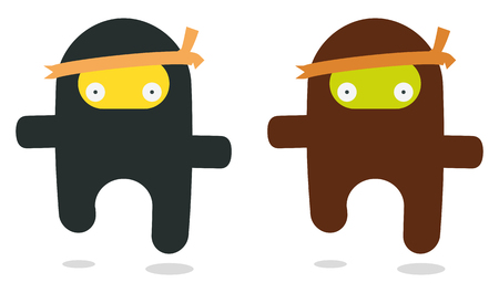 cartoon warrior: due battenti ninjas come stile kawaii  Vettoriali