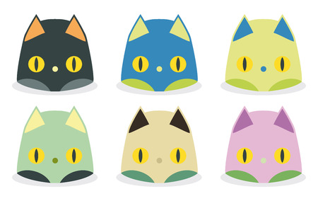 set of funny cat heads kawaii style Vector