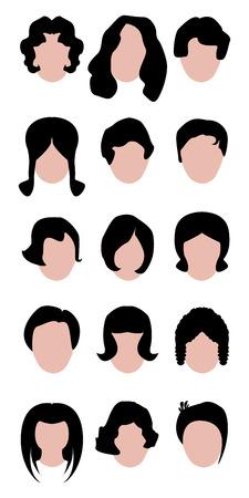 hair woman set for saloon choose Vector