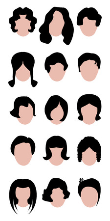 cut short: hair woman set for saloon choose Illustration