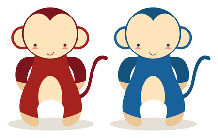 set of two baby mokeys in bron and blue colors Vector
