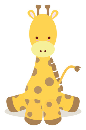 baby giraffe sit down like cute style Vector