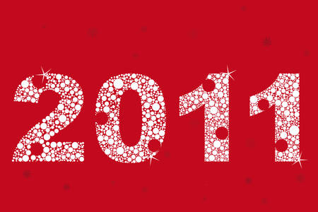 new year 2011 in red with brights Stock Vector - 8282358