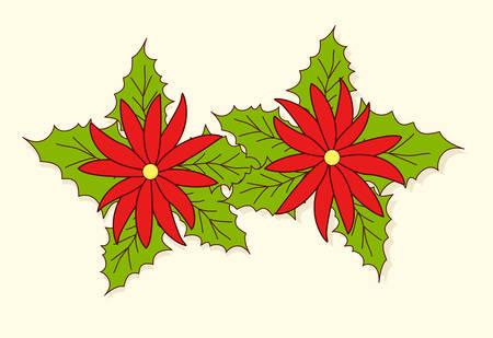 poinsettia flower for xmas season Vector