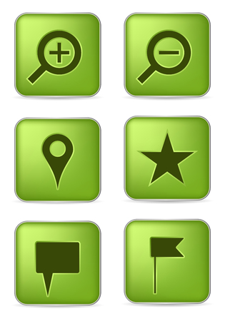set of six green navigation icons Vector