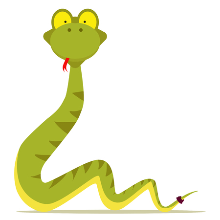 green snake cartoon with red tonge Vector