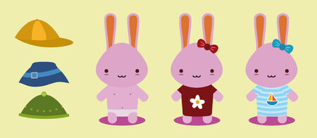 set of three bunnies for changes clothes Vector