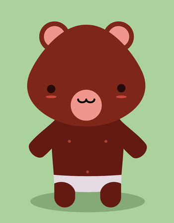 cute teddy bear kawaii style Vector