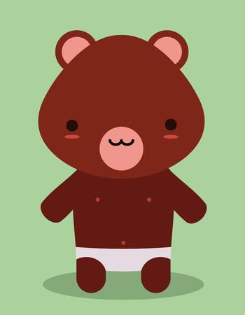 cute teddy bear kawaii style Vector