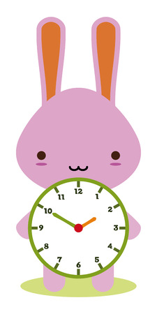 animal time: cute bunny holding a clock