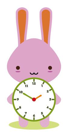 cute bunny houden een klok Vector Illustratie