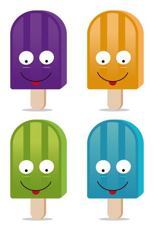 paletas de hielo: conjunto de cuatro helados en modo vectorial