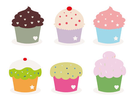 cupcakes isolated: set of six cute cupcakes