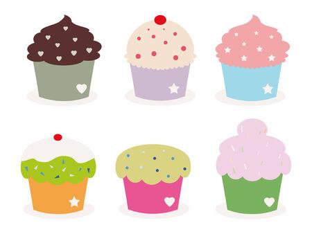 set of six cute cupcakes