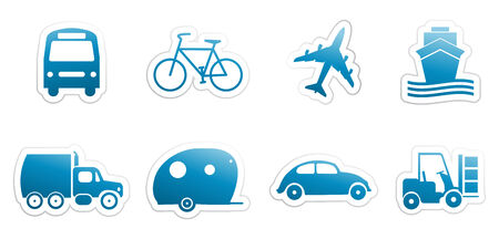 set of blue sticker with transportation theme Vector