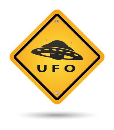 alien planet: Sign in yellow beware with ufos Illustration