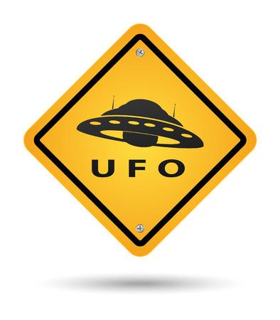 platillo volador: Tenga cuidado de signo en amarillo con Ovnis