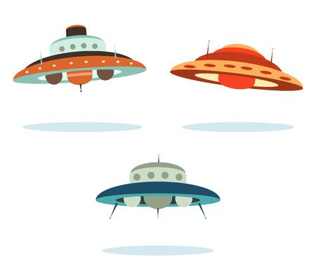platillo volador: naves espaciales alien�genas de OVNI Vectores