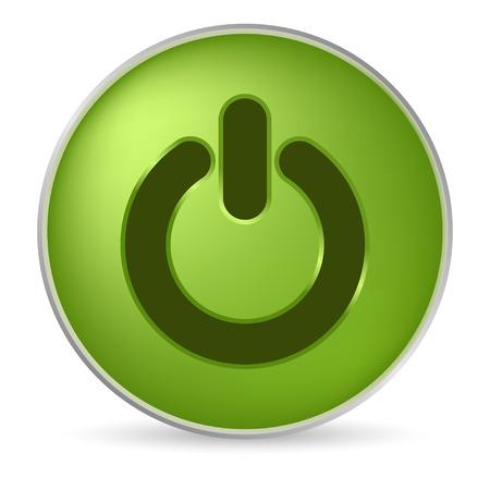 boton on off: brillante verde en off icono
