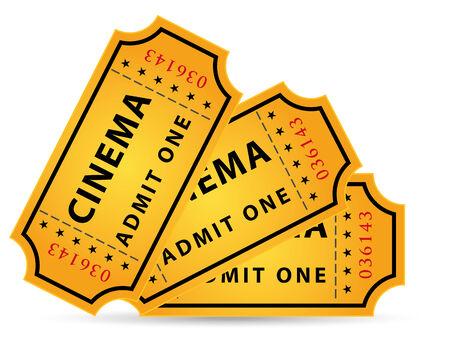 set of three cinema tickets Ilustração