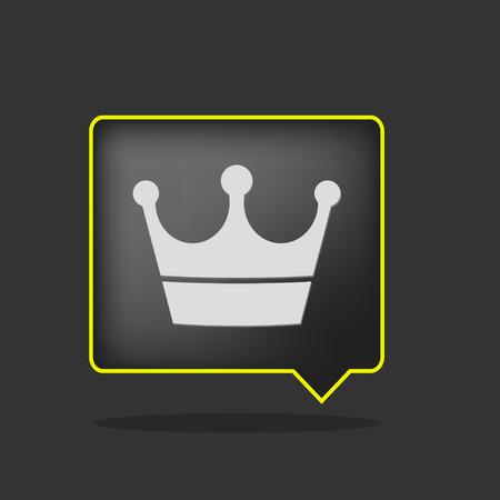 black yellow neon crown icon Vector