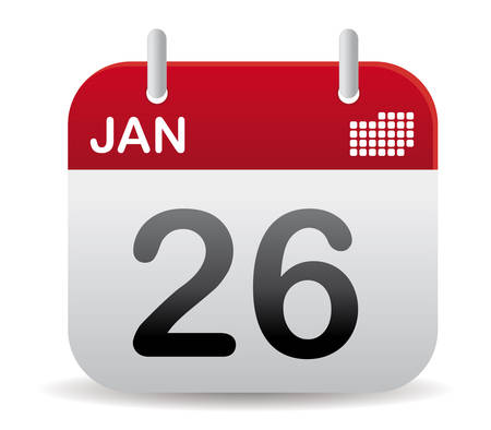 calendar: Red calendar of january
