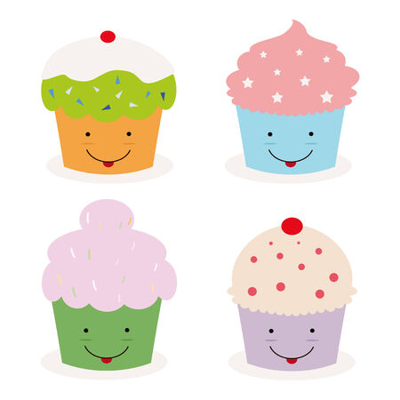 cupcakes isolated: set of four kawaii cupcakes