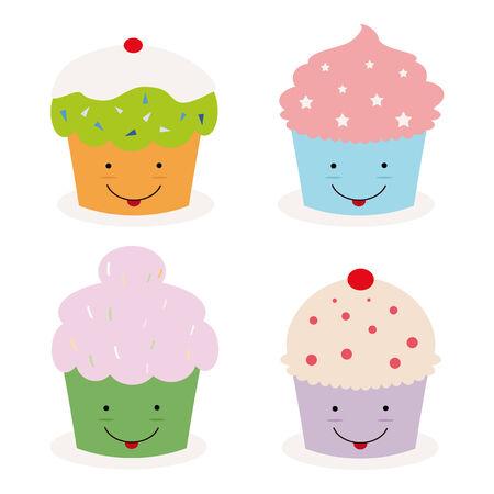 set van vier kawaii cupcakes Vector Illustratie