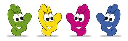 smiley pouce: ensemble de mains cartoon avec des faces