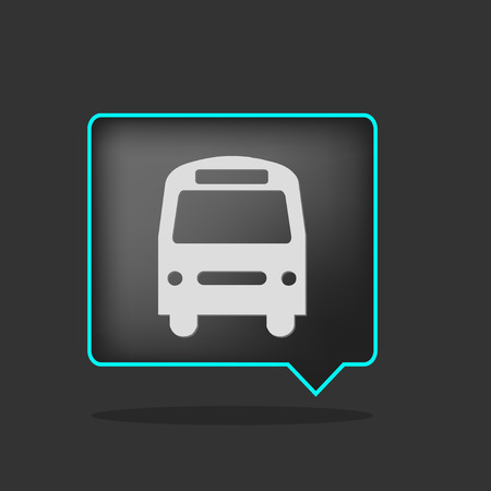 transportation icons: black neon bus icon with shadow Illustration