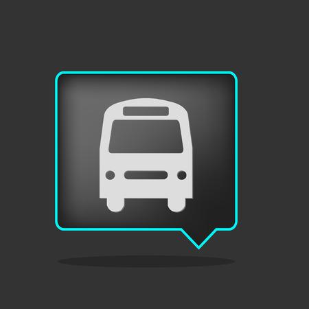 icône de bus du néon noir avec ombre
