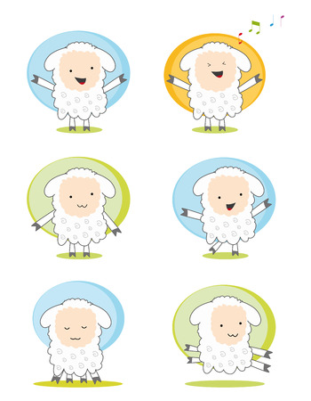 set of six character sheeps