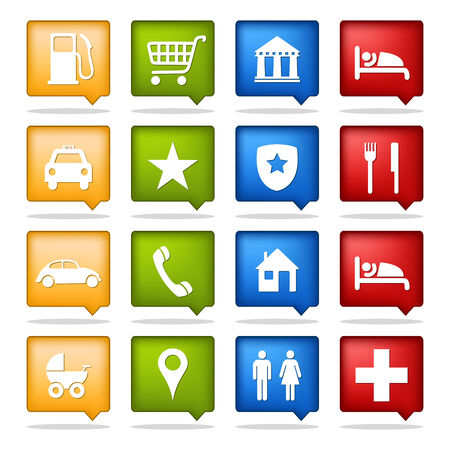 set of 16 color tourism location icons Ilustracja