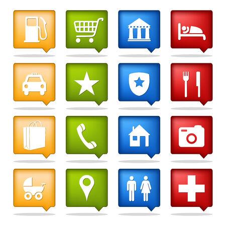 Satz von 16 Farben Navigation icons Standard-Bild - 8709047