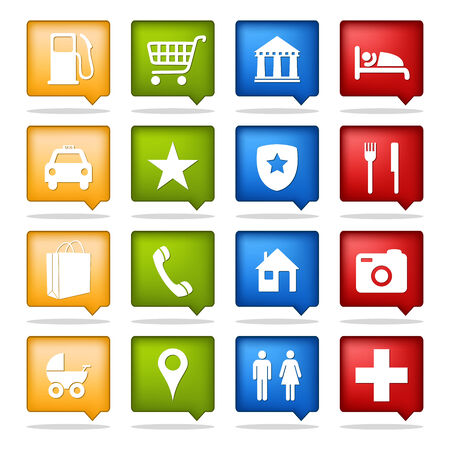 hotel icon: set of 16 color navigation icons