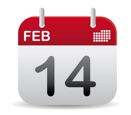 date: red february calendar stand up, love day