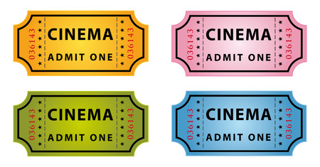 set of four color cinema tickets Иллюстрация